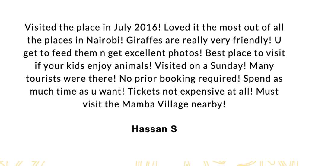 Review of Giraffe Centre by Hassan S