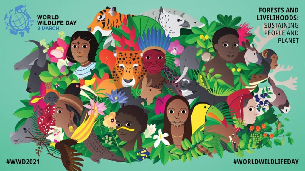 Illustration artwork for the World Wildlife Day 2021